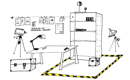 Drawing, Research Laboratory with Table, Shelf, Aluminium Box, Devices, 2007